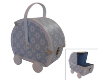 Image Pram Case, Sky Blue/White Flowers